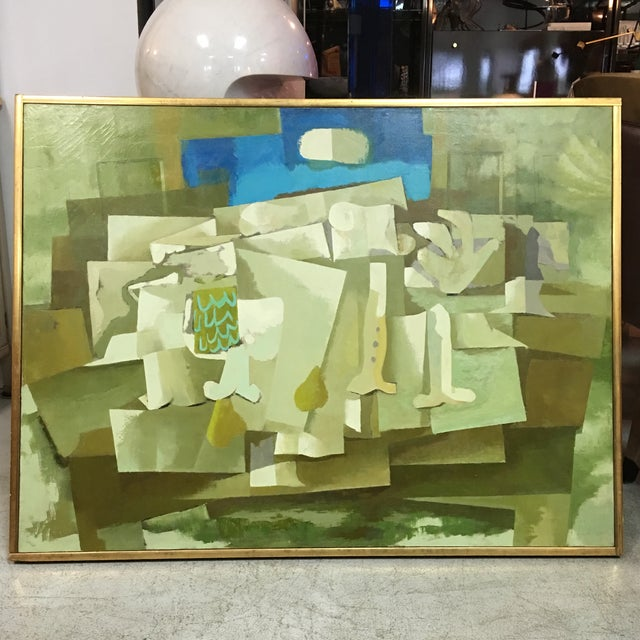 Mid-Century Green & Tan Cubist Oil Painting - Image 2 of 9