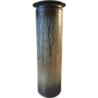 Vintage Studio Pottery Vase, Textured Drip Glaze