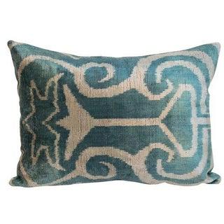 Turquoise Silk Velvet Ikat Pillow - a Pair