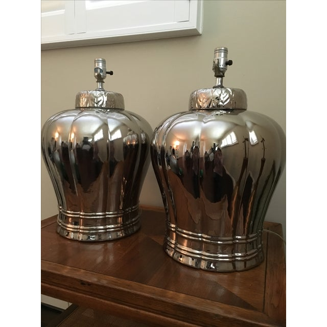 Vintage Silver Ginger Jar Table Lamps - A Pair - Image 2 of 6