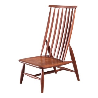 Handcrafted and Sculptural Wooden High Back Chair