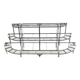 French Art Deco Three-Tier Metal Demi-lune Plant Stand