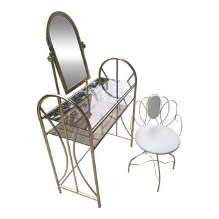 Brass Vanity Table and Chair Set