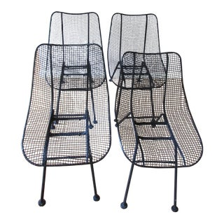 Vintage Mid-Century Modern Russell Woodard Sculptura Wire Mesh Chairs - Set of 4