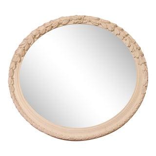 Vintage Carved White Round Mirror