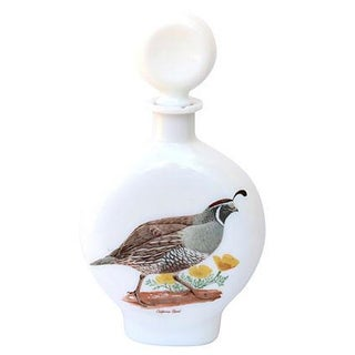 California Quail Milk Glass Decanter