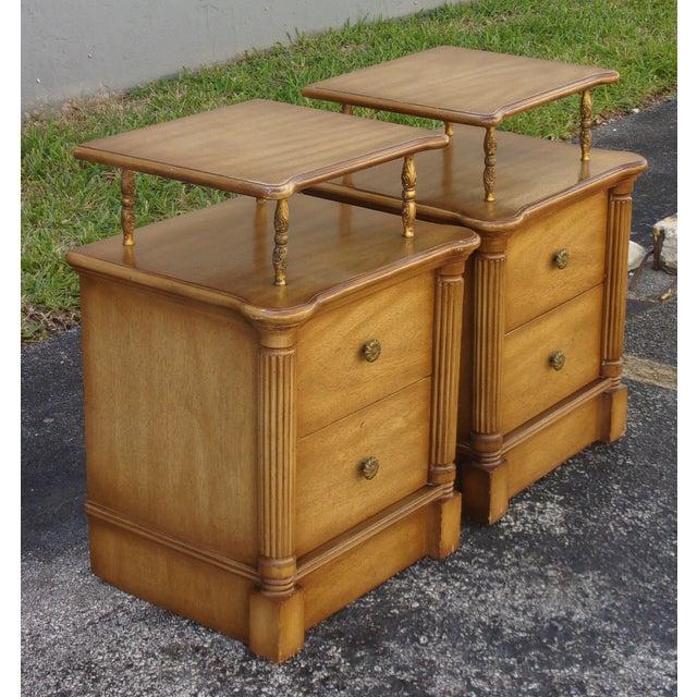 Vintage 2-Drawer Regency Style Nightstands - Pair - Image 2 of 10