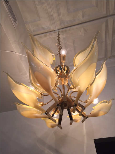 Tiered Amber Murano Calla Lily Chandelier Chairish