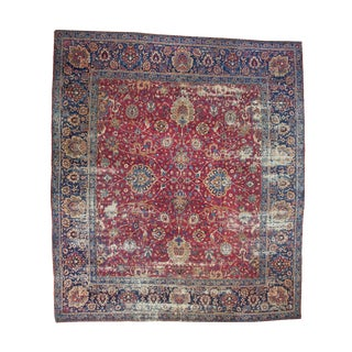 "Antique Persian Yezd Carpet - 13'4"" X 15'2"""