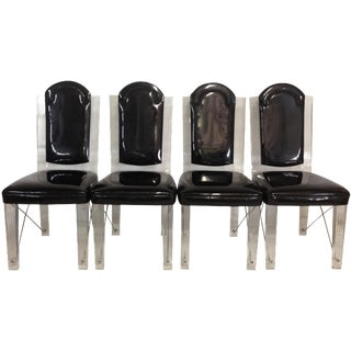 Lucite & Chrome High-Back Chairs - Set of 4