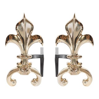 Pair of Custom Fleur-de-Lis Andirons in Polished Brass