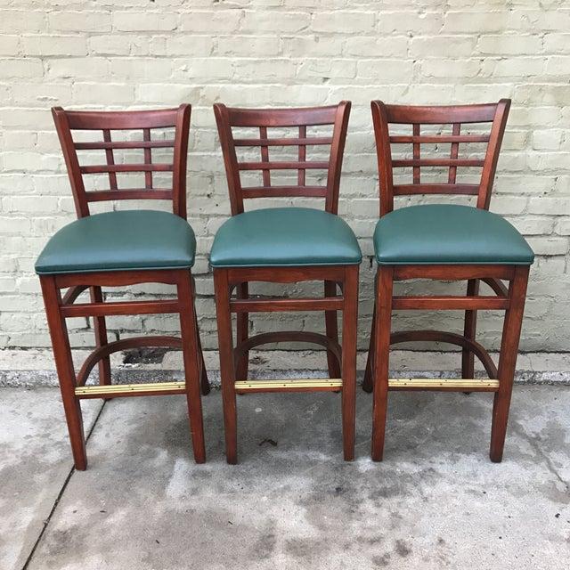 Mahogany Upholstered Barstools - Set of 3 - Image 2 of 3