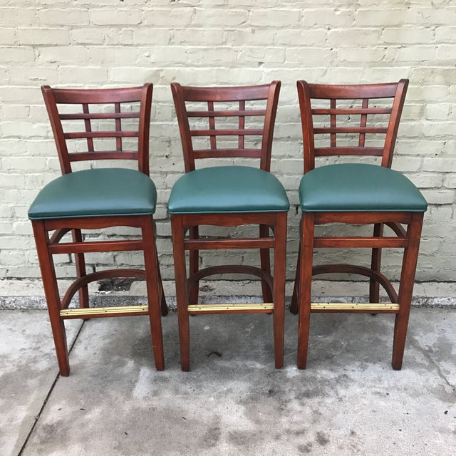 Image of Mahogany Upholstered Barstools - Set of 3