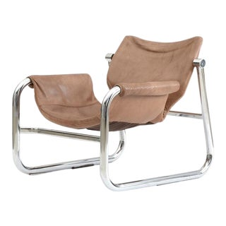 Mid Century Chrome and Leather Alpha Chair in the Style of Maurice Burke
