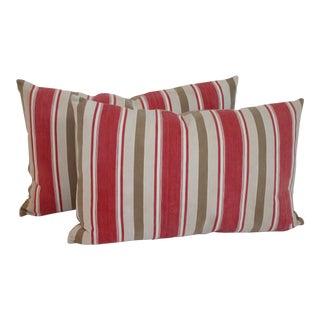Vintage Striped Ticking Pillows - A Pair