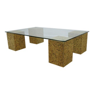 Cork & Brass Coffee Table with Glass Top, Circa 1970