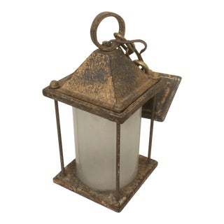 Antique Hammered Texture Iron and Glass Lantern