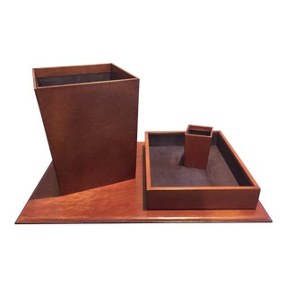 Restoration Hardware Chestnut Leather Desk Accessories- Set of 4