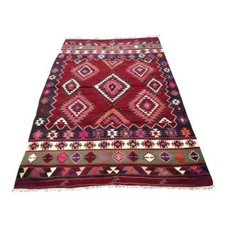 "Vintage Turkish Kilim Rug - 5'4"" x 8'7"""