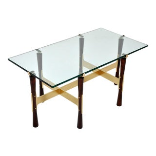 Rosewood and Brass Cocktail Table