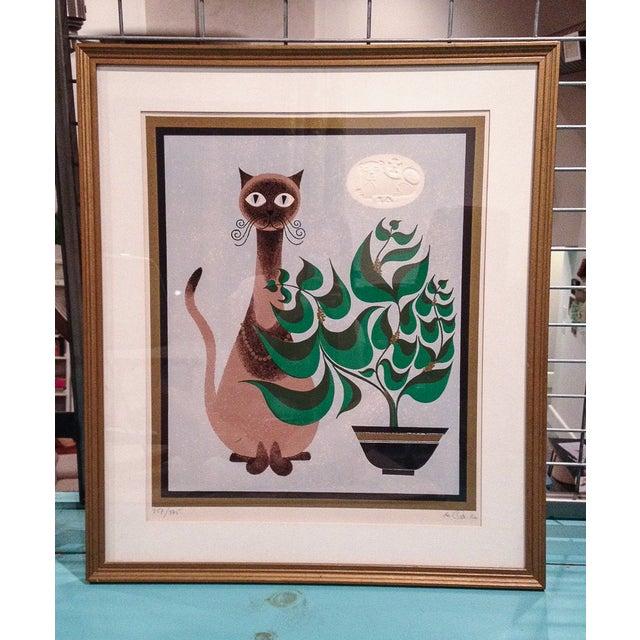 Image of Framed De Carlo Cat Lithograph Print
