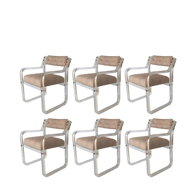 Image of Tufted Back Acrylic Lucite Armchairs - Set of 6