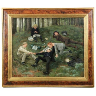 "Malthe Odin Engelsted Oil Painting ""Afternoon Frolics"" C. 1885"