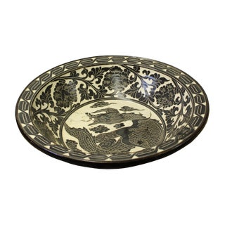 Chinese Cizhou Ware Ceramic Black Underglaze Dragon Round Bowl Plate