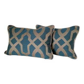 Striking Turquoise & Sand Pillows - a Pair