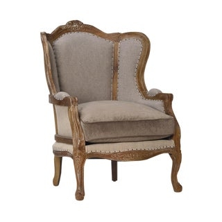 Linen & Oak Carved Bergere Chair