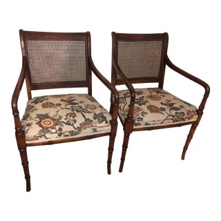 Faux Bamboo Cane Back Chairs - Pair