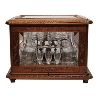 19th Century French Walnut Black Forest Cave a Liqueur, Carafes & Glasses - Set of 21