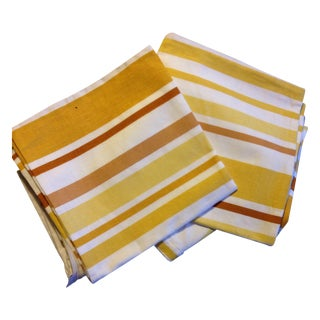 Yellow Striped Cushions - Set Of 5