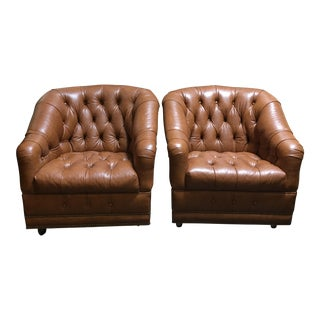 Tufted Leather Club Chairs - A Pair