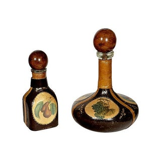 1960's Leather-Accented Decanters - Pair