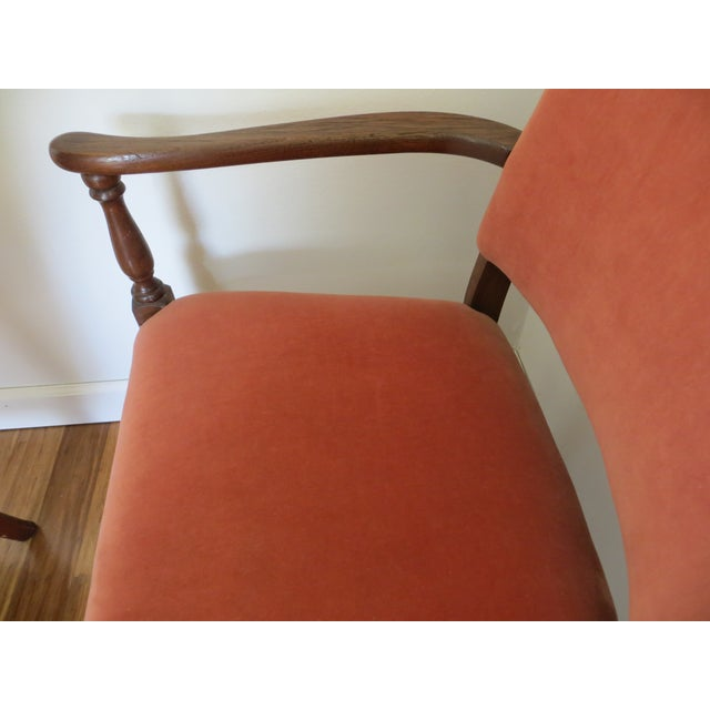 Image of Velvet Mohair Settee Bench in Pink Melon