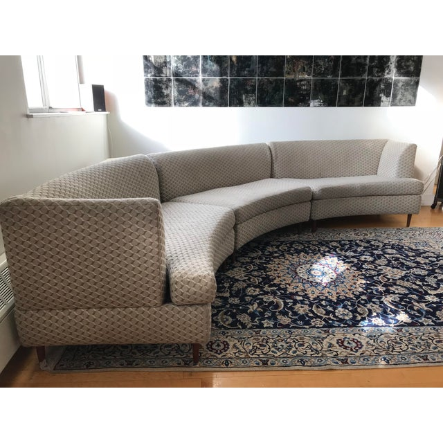 Curved Keller-Williams Vintage Mid Century Sectional Sofa - 3 Pieces - Image 2 of 9