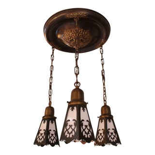 Edwardian Flush-Mount with Cut-out Shades (3-light)