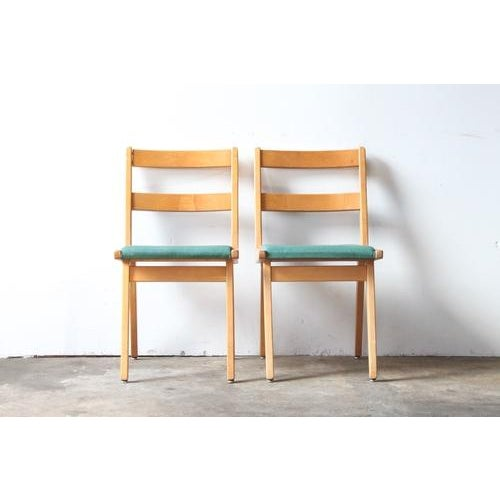 Maple & Turquoise Vinyl Side Chair - Image 7 of 7