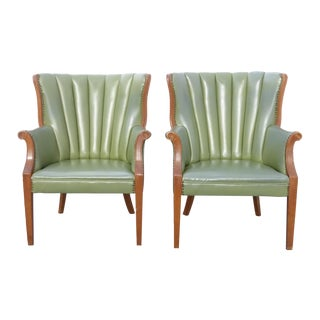 Channel Back Green Vinyl Arm Chairs - Pair