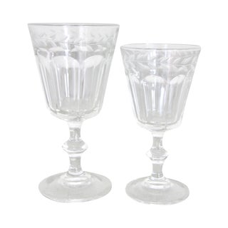 Etched Glass Wine & Water Glasses - Set of 22