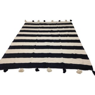 Custom Made Moroccan Striped Pom Pom Blanket