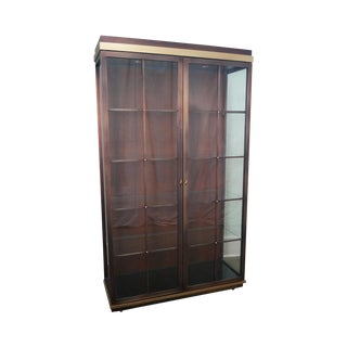Design Institute of America (DIA) Large 2 Door Coppertone & Brass Display Curio Cabinet