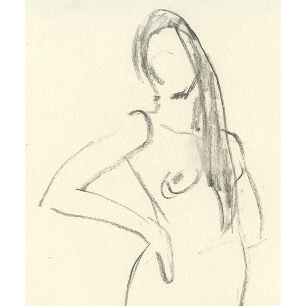Image of Rae Standing Original Charcoal Drawing