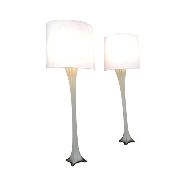 Vintage Murano Gray Glass Table Lamps - A Pair - Image 1 of 4