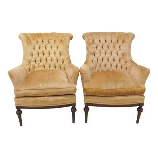 Gold Tufted Velvet Bergere Chairs - a Pair