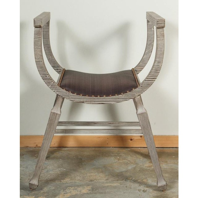 Customizable Paul Marra Distressed Fir Bench in Brown Horsehair - Image 5 of 7