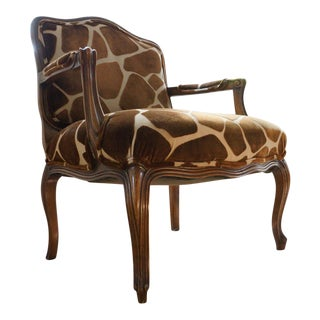 Vintage Slightly Oversized Fauteuil Arm Chair in Kravet Safariya Fabric