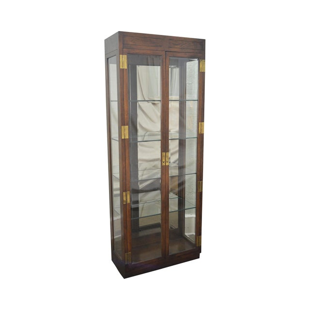 Henredon Campaign Style Lighted Curio Display Cabinet - Image 11 of 11