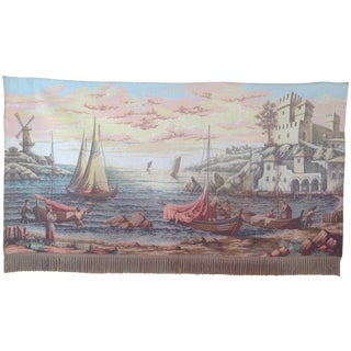 French Dutch Port Scene Tapestry